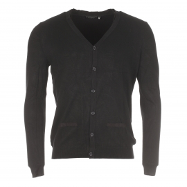 Cardigan Best Mountain noir à double col en simili cuir