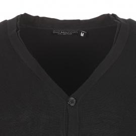 Cardigan Best Mountain noir à double col en simili cuir