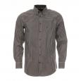 Chemise droite Jean Chatel en twill à petits carreaux marron, verts et blancs Repassage Facile