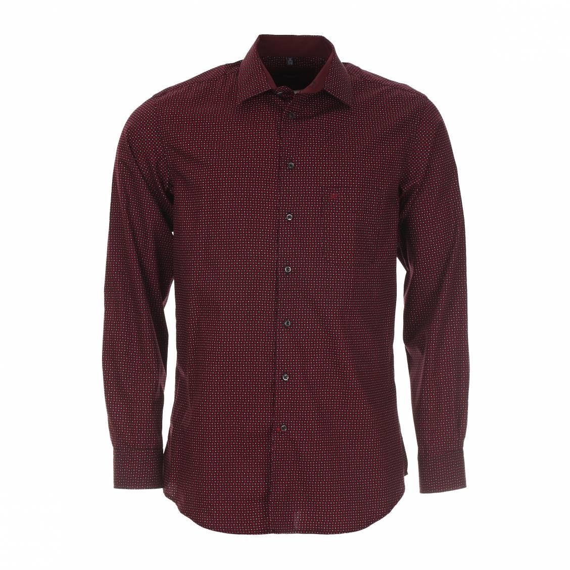 Chemise droite Jean Chatel bordeaux à motifs rouges. Chemise homme jean Chatel   - Coton (100%) - Coupe droite  - Bordeaux à motifs roug