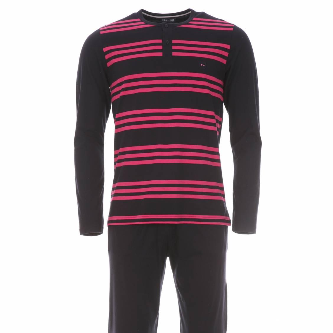 Pyjama long  100% coton bleu marine � rayures mauve