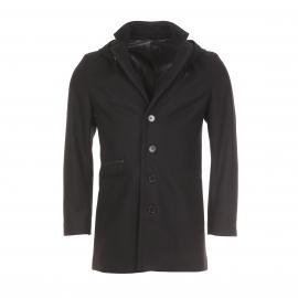Caban Edween Pearson en laine vierge et cachemire noir à capuche amovible
