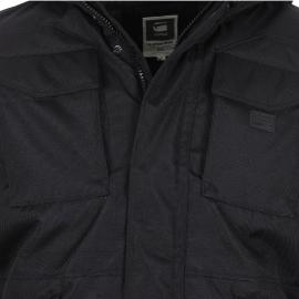Parka MFD Hooded G-Star noire à capuche en nylon effet maille piquée