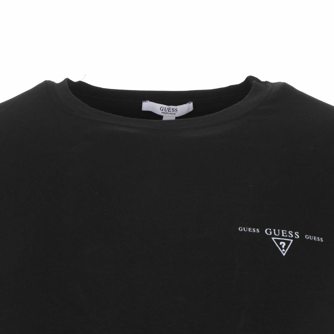 Tee-shirt Guess en coton noir avec logo blanc discret