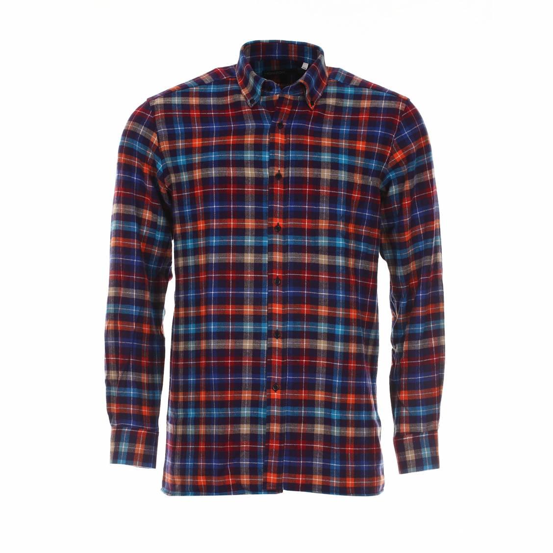 Chemise chaude  en coton à carreaux multicolores: bleus, violets, rouges