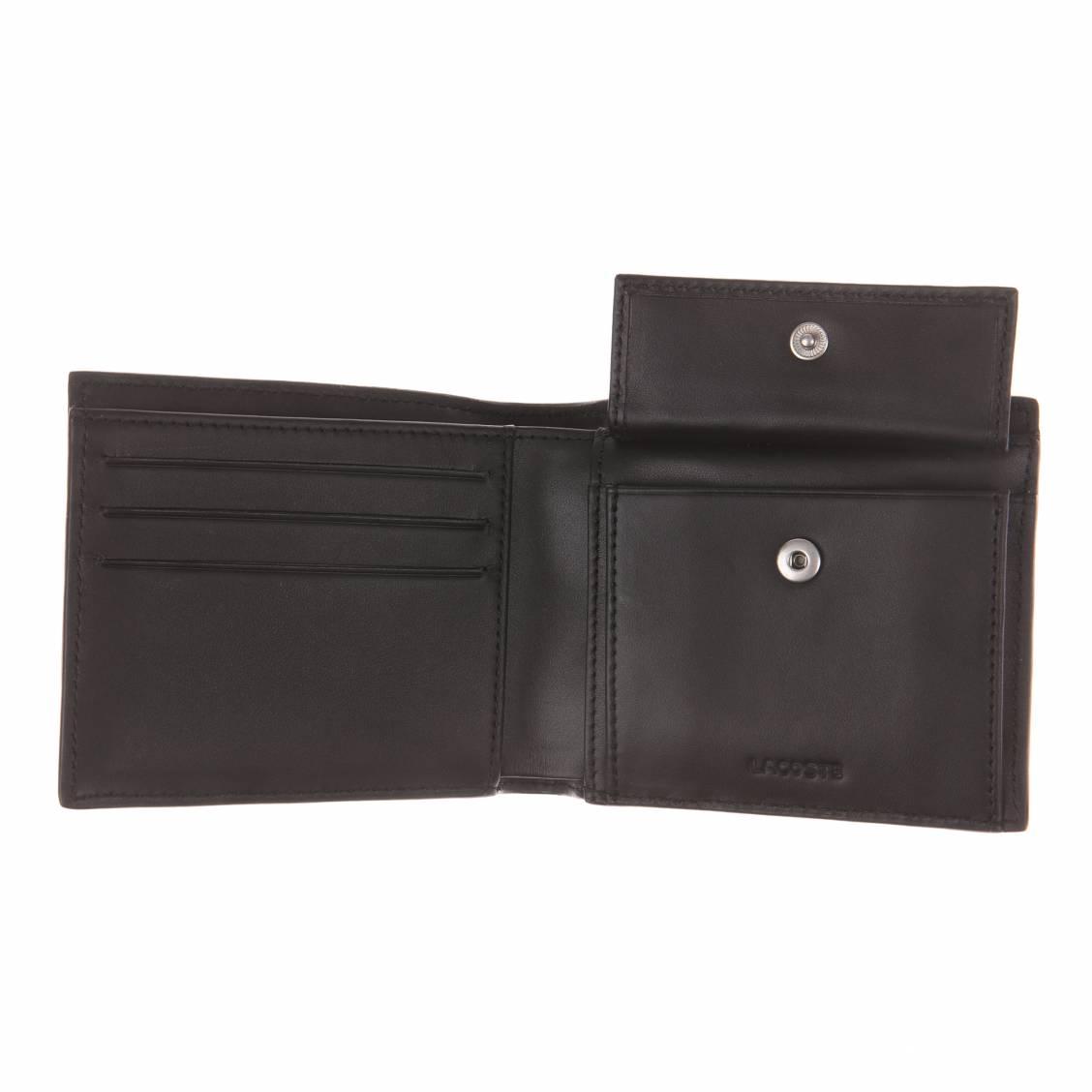 Portefeuille lacoste en cuir noir fonc porte monnaie rue des hommes - Porte monnaie lacoste homme ...