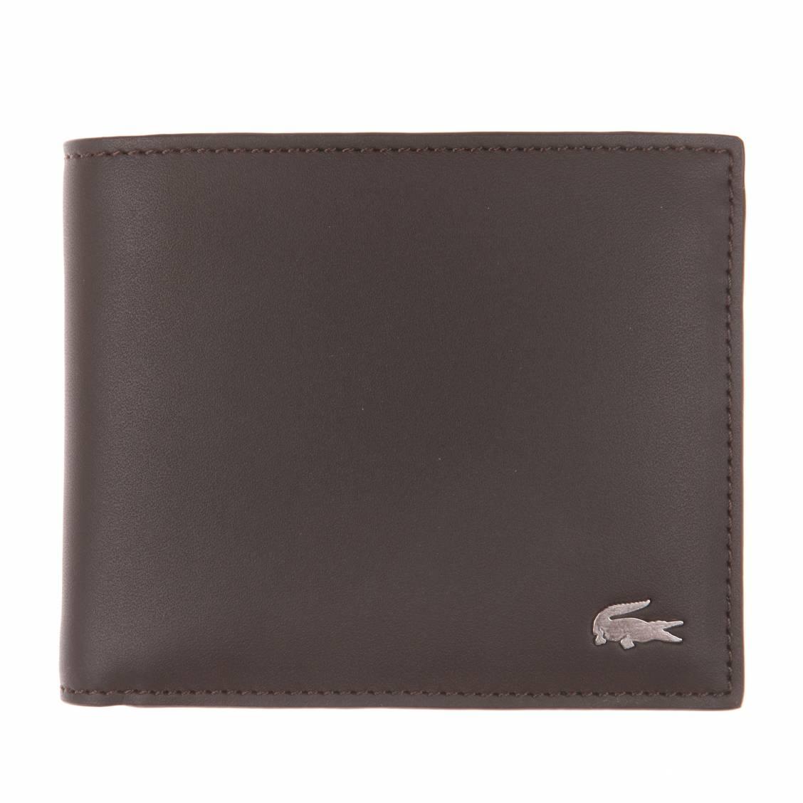 Portefeuille lacoste en cuir marron fonc porte monnaie rue des hommes - Portefeuille porte monnaie ...