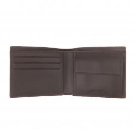 Portefeuille Lacoste en cuir marron foncé à porte-monnaie