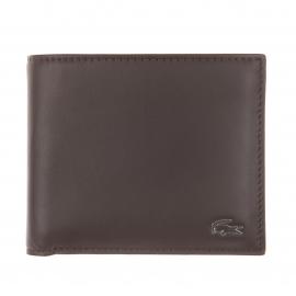 Portefeuille Lacoste en cuir marron à porte-cartes amovible