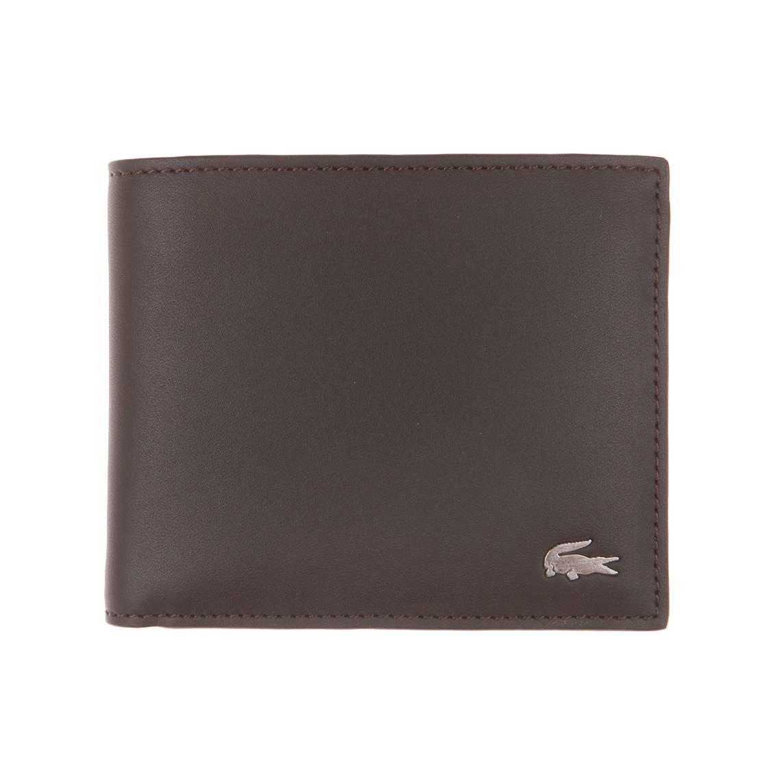 fc056a934362 Portefeuille Lacoste en cuir marron foncé à porte-monnaie   Rue Des ...