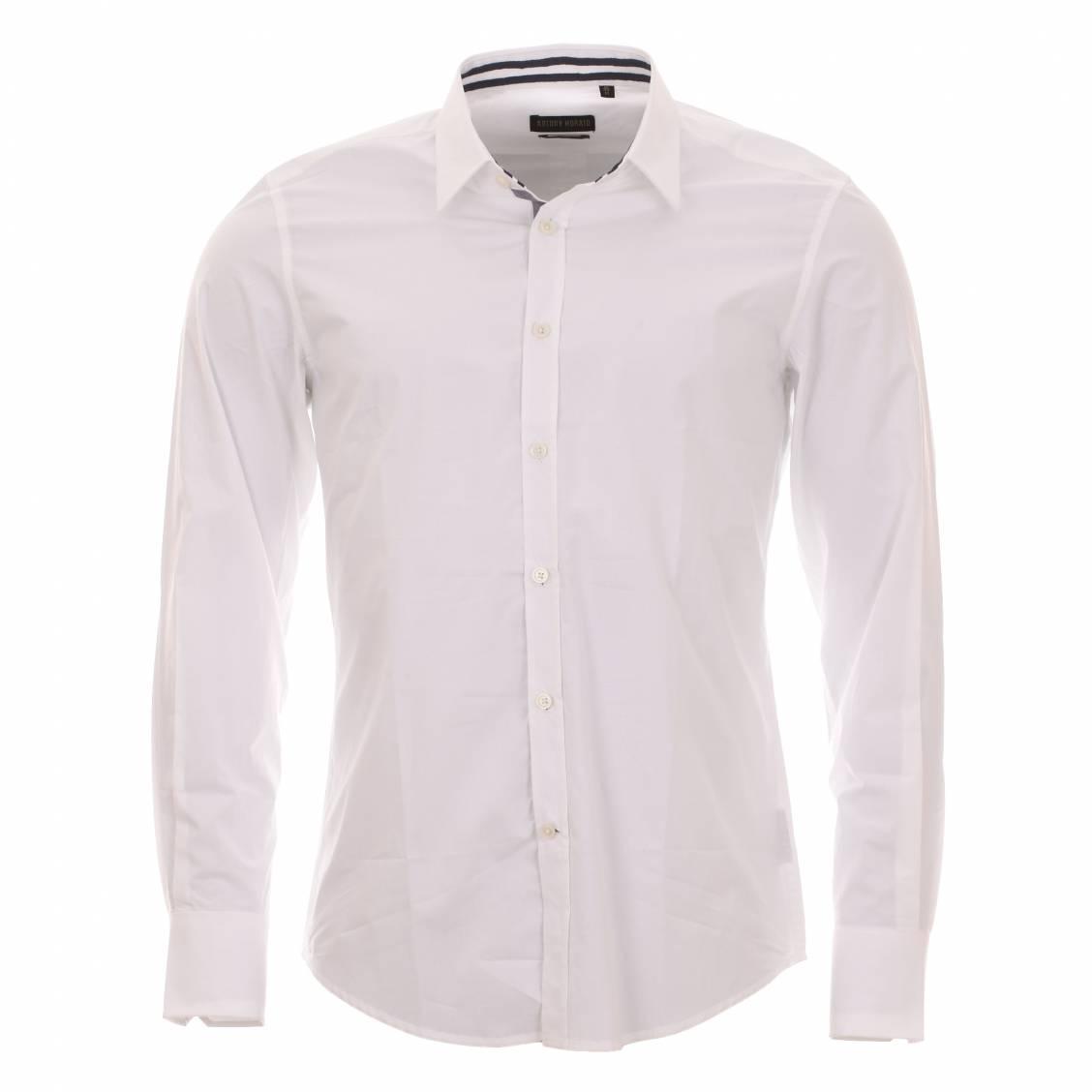 Chemise cintrée  blanche à opposition à rayures bleu marine