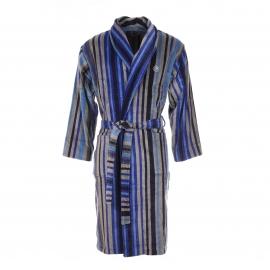 Peignoir éponge Mariner rayé bleu marine, bleu roi et gris, extérieur en velours