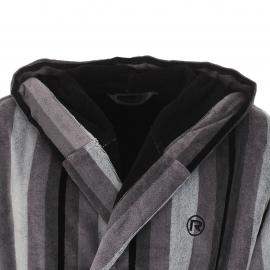 Peignoir éponge Mariner rayé gris à capuche, extérieur en velours