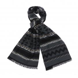 Echarpe grise à motifs noirs, beige, crème et gris