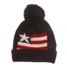 Bonnet à revers avec pompon Schott NYC, noir à motif drapeau