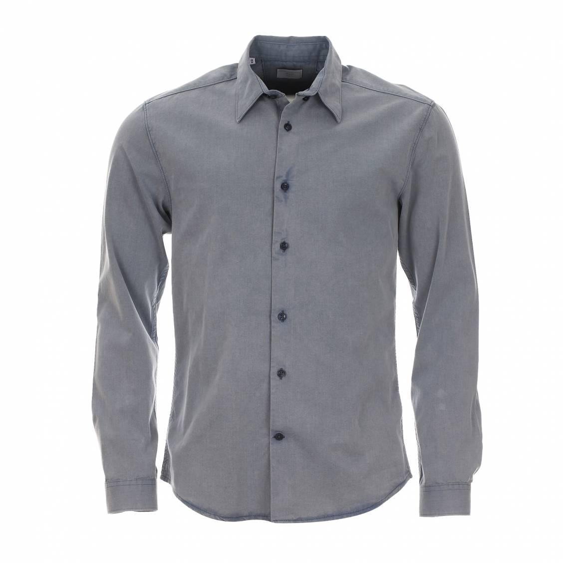 Chemise homme cintrée  en jean bleu clair