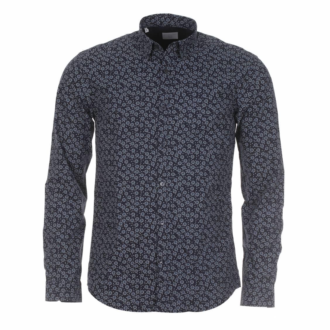 chemise homme selected petit col bleu marine motifs gris et blancs rue des hommes. Black Bedroom Furniture Sets. Home Design Ideas