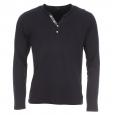 Tee-shirt manches longues Selected en coton pima bleu marine à col tunisien