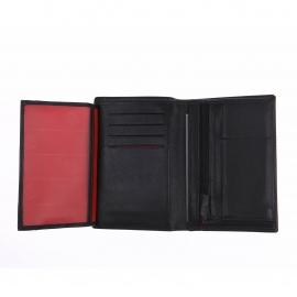 Portefeuille européen à 3 volets Serge Blanco en cuir noir à rayures ton sur ton
