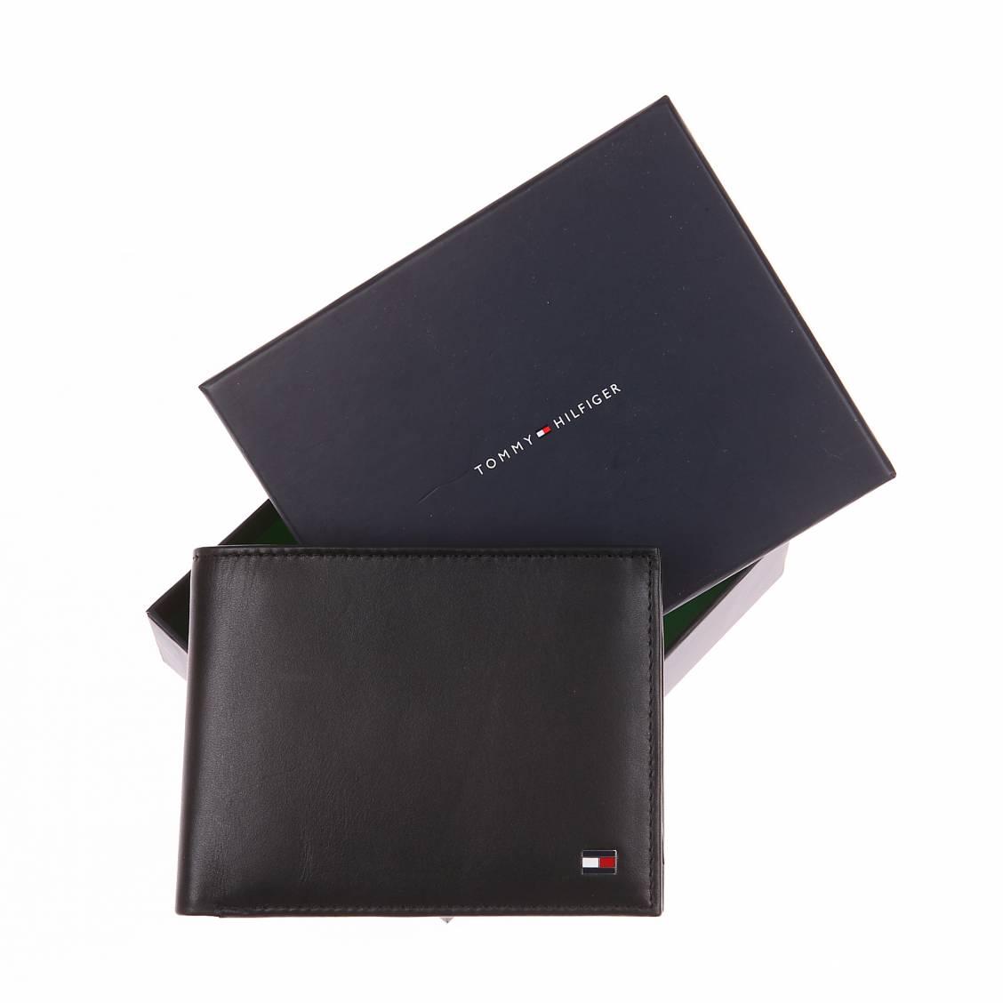 portefeuille avec porte-monnaie en cuir lisse