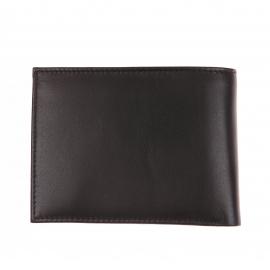 Portefeuille européen Tommy Hilfiger Eton à 3 volets en cuir lisse noir estampillé à l'avant