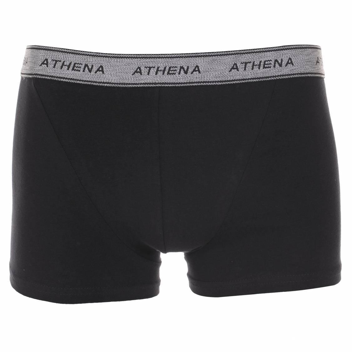 Lot de 4 boxers Athena en coton noir à ceintures grises