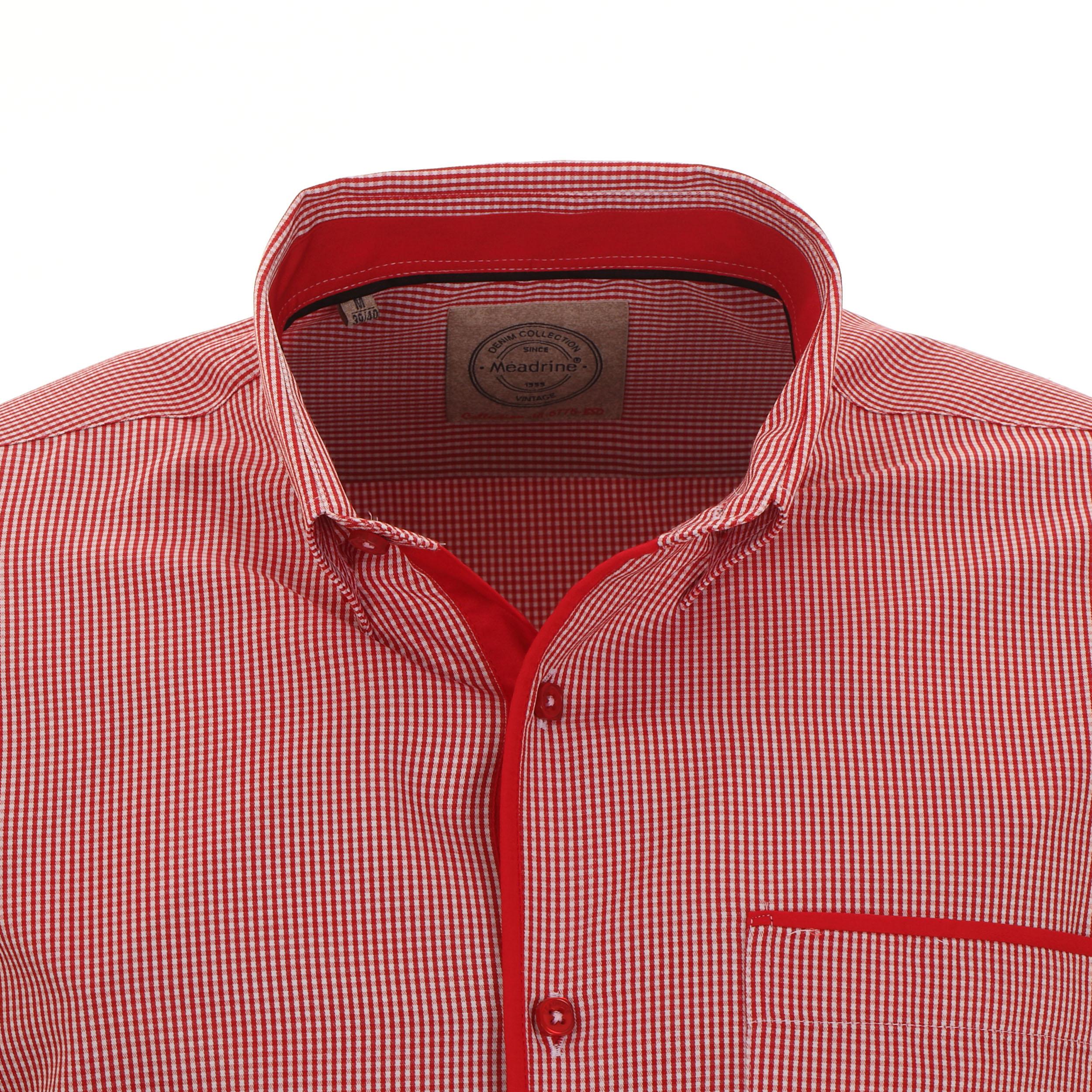 chemise cintrée à carreaux vichy rouges et blancs