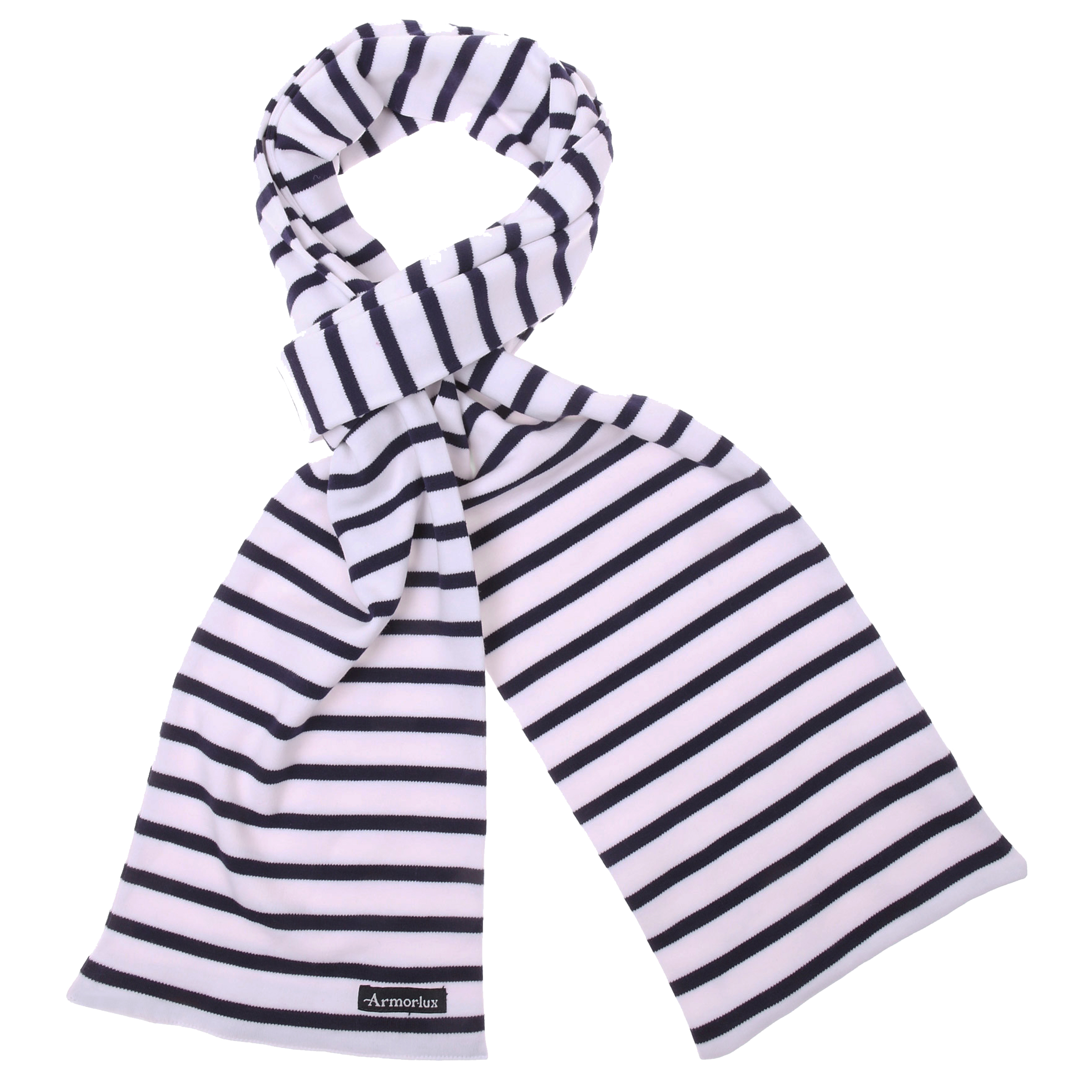 Echarpe pagaie en coton blanc à rayures bleu marine