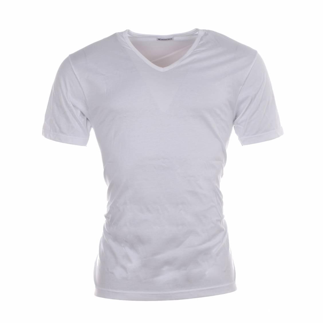 tee shirt blanc col v en pur coton d 39 egypte rue des hommes. Black Bedroom Furniture Sets. Home Design Ideas