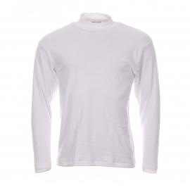 Tee shirt blanc col cheminée manches longues Chaleur Naturelle