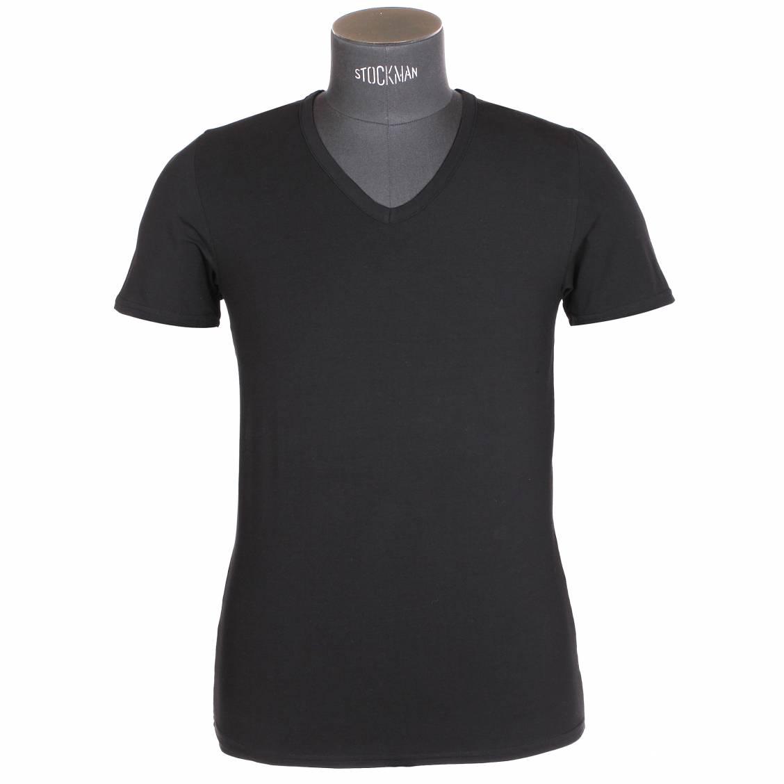 tee shirt col v eminence en micromodal noir rue des hommes. Black Bedroom Furniture Sets. Home Design Ideas