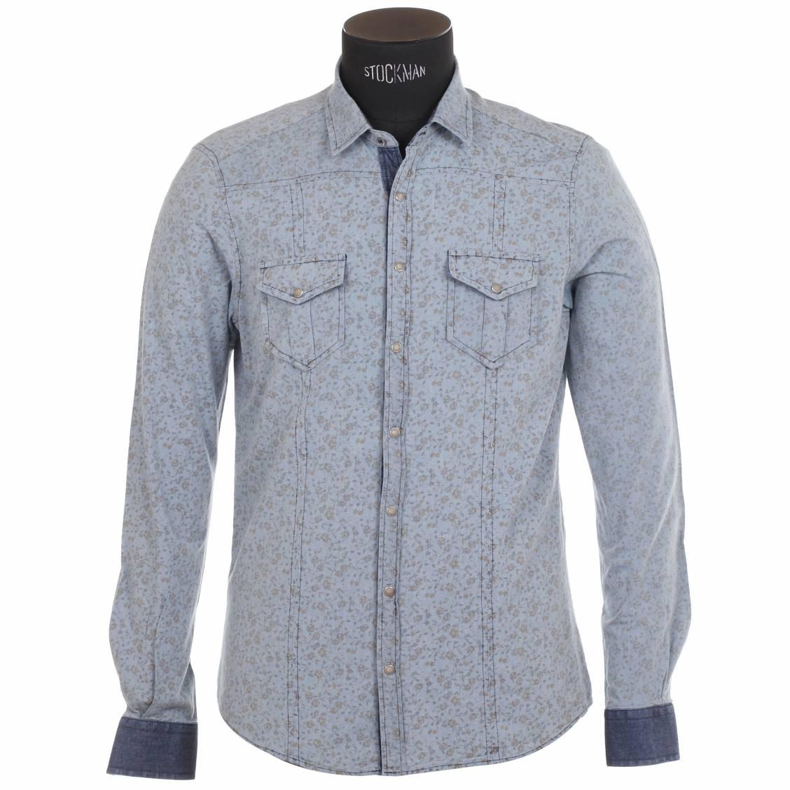 chemise homme coupe cintr e hamaki ho bleu c leste motifs liberty rue des hommes. Black Bedroom Furniture Sets. Home Design Ideas