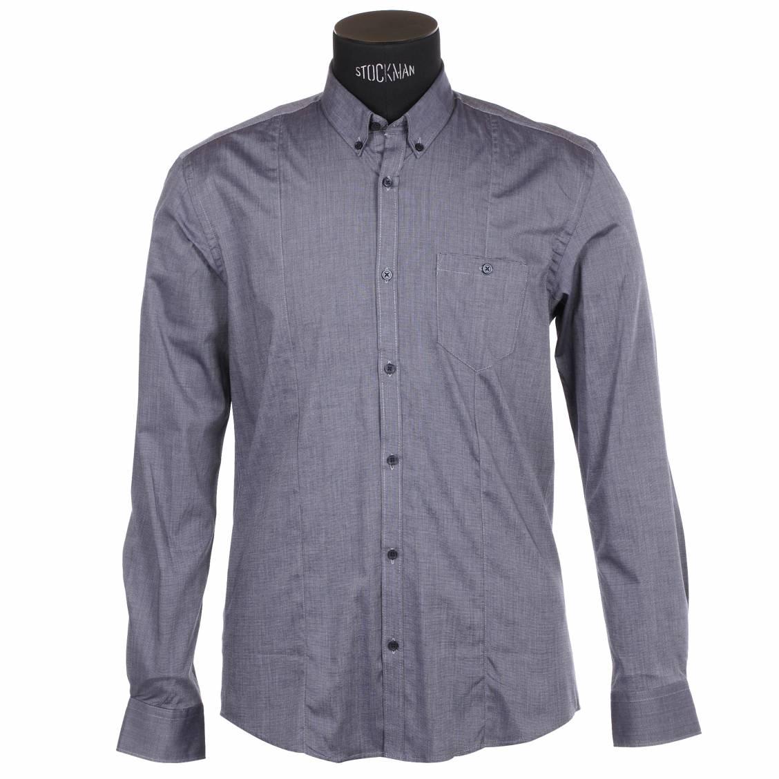 chemise homme cintr e selected bleue jean satin e rue des hommes. Black Bedroom Furniture Sets. Home Design Ideas