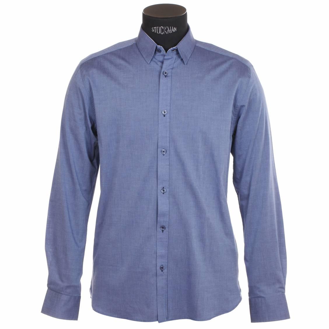 Chemise homme  bleu à opposition rayée