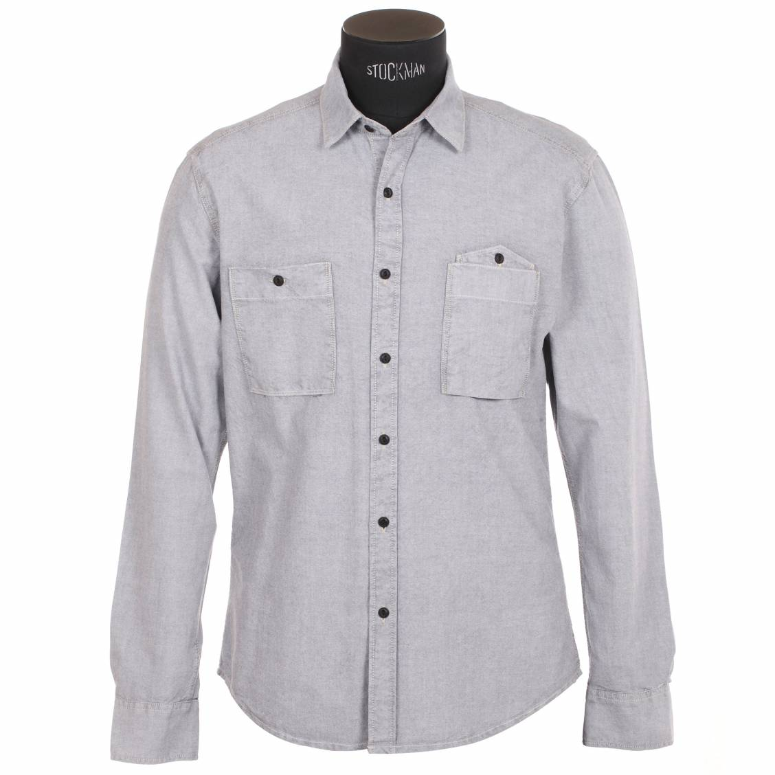 Chemise homme Selected Gris clair, effet jean. Chemise homme Selected Gris clair, effet jean