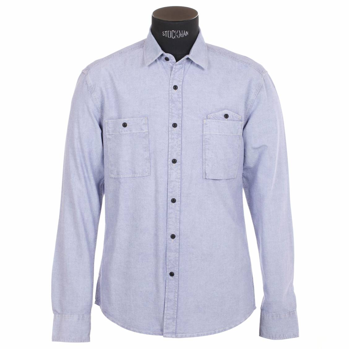 Chemise homme Selected Bleu clair, effet jean. Chemise homme Selected Bleu clair, effet jean