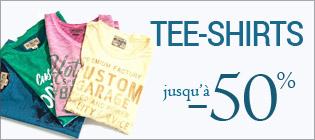 Soldes Tee-shirts homme jusqu'à -50%