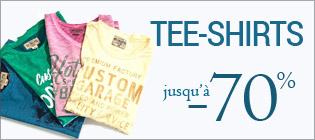 Soldes tee-shirt homme jusqu'à -70%